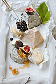 Different goat's cheese with grapes, figs and honey