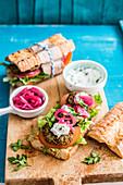 Falafel baguette sandwiches