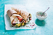 Vegetarian wraps with yogurt sauce