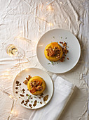 Pumpkin flan with lardo and walnuts