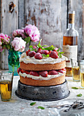 Strawberry spongecake with mint, icing sugar and frosting