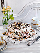 Meringues cake with chocolate and hazelnuts