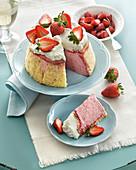 Italian red wine and strawberry cake