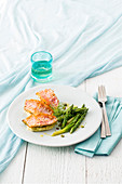 Red mullet fillets on celery puree with green asparagus