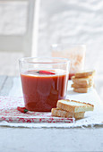 Cold tomato soup with chilli and toasted bread