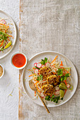Thai fish cakes with crunchy salad and chilli dipping sauce