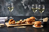 Canape party selection - Falafel, MIni burger, Salt and pepper squid