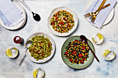 Salad selection - Pesto pasta salad, Black rice and corn salad, Chickpea and Edamame salad