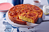 Blood orange upside down cake, sliced