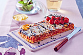 Upside down tart with sardines and cherry tomatoes