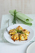 Oven roasted pumpkin flowers with potato and cream cheese filling