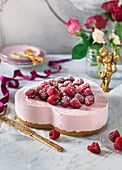 Cheesecake with raspberries for Valentines day