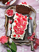 Chocolate sponge cake with candy for Valentines day