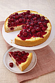 Quark semolina cake with cherries