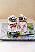 Blueberry and chocolate dream desserts with pumpernickel and almond crumbs