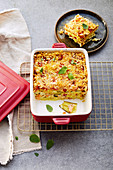 Salmon and vegetable lasagna