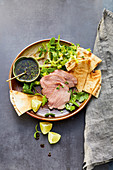 Vitello with a light soy and lime dip