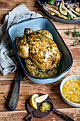 Roast chicken with almond and garlic sauce (keto cuisine)