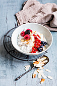 Vegan keto overnight oats with berries and coconut (keto cuisine)