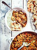 Dhansak mit Pilzen, Reis und Fladenbrot (Indien)