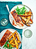 Cajun salmon with rosemary sweet potato wedges
