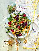 Easter asparagus salad with radish, potatoes and carrots