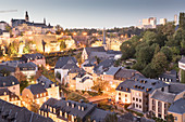 A view of the upper town from the ramparts of the Citadelle du Saint-Esprit, Kasematten and Kirchberg, Luxembourg
