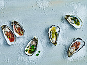 Oysters with different dressings