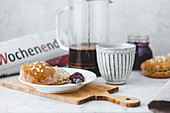 Weekend breakfast with scones, jam and French press coffee