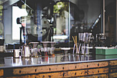 Coffee-making utensils in coffee bar