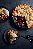 Apple and Blackberry Pie with Ice Cream
