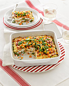 Spring vegetable and cream cheese lasagne