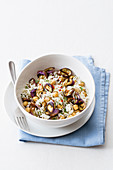 Basmati rice salad with chickpeas and eggplants