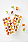 Colourful fruit ice cubes