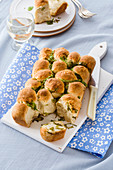 Almond wheat rolls with garlic and romaine lettuce