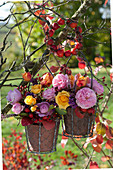 Kleine Herbststräuße mit Rosen, Hagebutten, Knospenheide, Herbstlaub und Beeren vom Liebesperlenstrauch an Zweig gehängt
