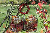 Herbst-Windlichter im Drahtkorb aufgehängt, Hagebutten, Zieräpfel und Herbstlaub als Deko