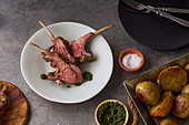 Roasted rack of lamb with spicy rosemary sauce