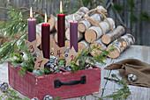 Schublade mit nummerierten Kerzen als Adventskranz