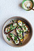 Aubergines with tahini yogurt