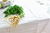 A bunch of wild carrots on a table