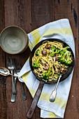 Spaghetti with broccoli and sausage