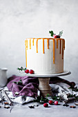 Christmas layer cake with mincemeat and brandy butter cream