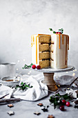 Christmas layer cake with mincemeat and brandy buttercream