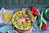 Leek and apple quiche with cheese