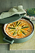 Courgette quiche with bacon and saffron