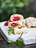 Grilled raspberry and ricotta parcels