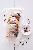 Cannoli alla crema di caffè (pastries filled with cream), Sicily, Italy