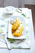 Caramelised pineapple with pink pepper and whipped cream
