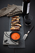 Oven-roasted aubergines with a Romesco sauce